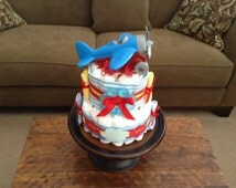 Airplane Diaper Cake baby shower centerpiece or gift other sizes and colors too room Zroom