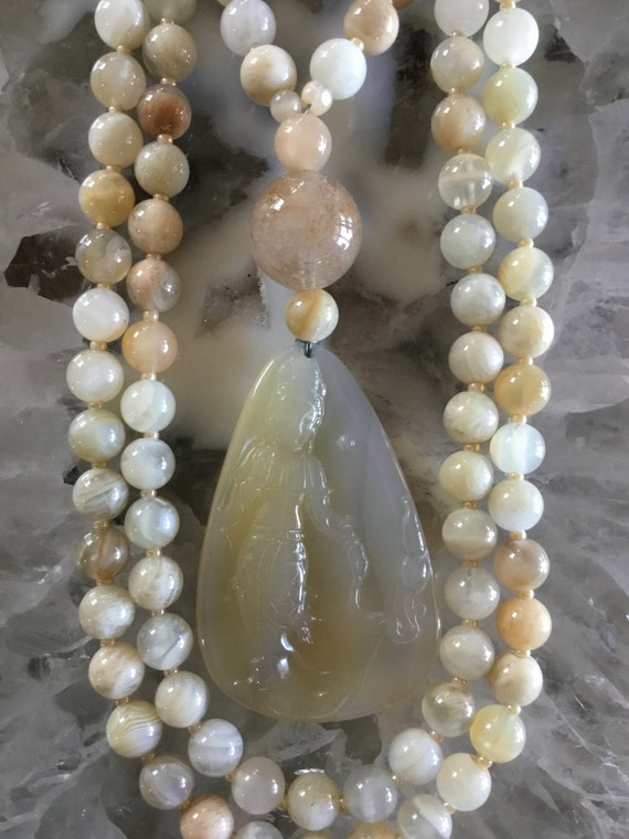 Moonstone and Agate Mala/Prayer Beads
