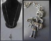 Rare Aharon Bezalel Modernist Sterling Silver Pendant,King David as Shepherd,Biblical Theme,Shepherd with Lamb,Israel,Vintage Jewelry,Unisex