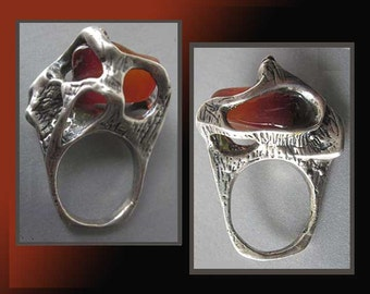 TALL Brut-Sculptural Brutalist Cast Sterling Silver Ring with Polished Carnelian Stone,Israel,Vintage Jewelry,Women