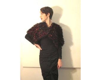 BASIA DESIGNS Hand Knit Black and Multicolor Shrug - Free Shipping
