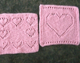 Two Hand Knit Cotton Dishcloths or Washcloths