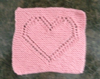Hand Knit Pink Dishcloth or Washcloth - measures approximately 8x81/2 inches
