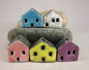 5 Saggar Fired Miniature House Beads...Turquoise White Pink Lemon Purple