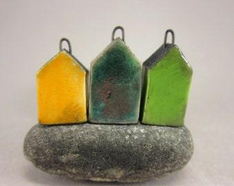 Less Is More...Minimalist House Pendant / Focal Bead / Ornament...Set of 3...Yellow Lagune Green
