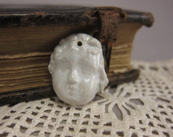 Doll Face...Creamy White...Artisan Made Bead in Porcelain