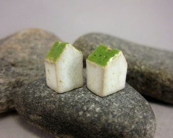 Minimalist House Beads...Green Roof...Porcelain House Beads...Set of 2