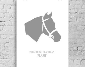 Beautiful Personalised and Custom Silhouette Horse Portrait from Your Photograph