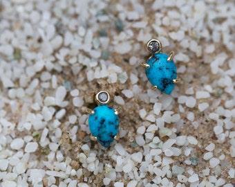 Turquoise + Diamond Stud Earrings
