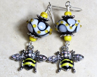 Yellow and Black Honey Bee Earrings, Glass Lampwork Beaded Earrings, Lampwork Earrings, Insect Earrings, Bee Charm Earrings, Dangle Earrings