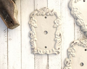 "Cable Plate Cover, Cast Iron Decor, Victorian Home, Light Fixture, Romantic Home, Creamy White, Cable Cover, 3/8"" Opening"
