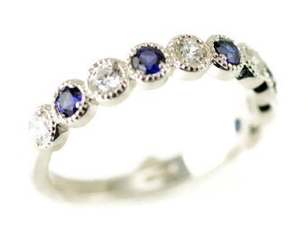 Sterling Beaded Stack Ring - Anniversary Band -  Sapphire Stacking Ring - Birthstone Ring - 10 Stone Ring