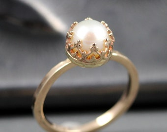 14k Gold Pearl Ring -  Pearl Engagement  Ring - Sizes 3 - 12