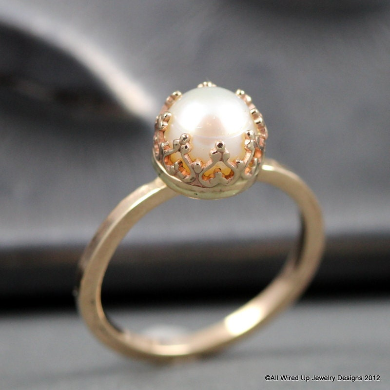 Pearl Wedding Ring: 14k Gold Pearl Ring Pearl Engagement Ring Sizes 3 12