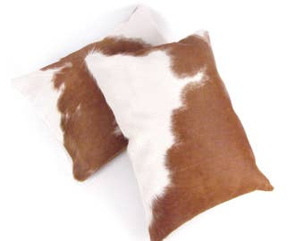 Brown and White Leather Pillow ~ Brown White Pillow ~ Leather Pillow ~ Brown Accent Pillow ~ Brazilian Leather ~ Leather Lumbar ~ Rustic