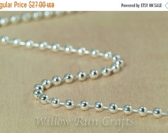 ON SALE 60 High Quality Shiny Silver Plated Metal Ball Chain 2.4mm Necklaces with connectors 24 inch Chain (15-40-262)