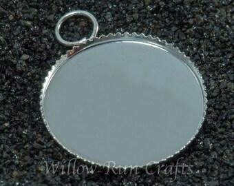 20 pcs 18mm Silver Plated Circle Pendant Trays(brass) (19-16-340), Blank Bezel Cabochon Setting