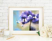 Butterfly Wall Art Print, Aqua Blue and Purple Living Room Art, Flying White Butterflies Home Decor
