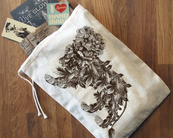 "GIFT BAG / 8x11"" LION - Hand Printed Drawstring Reusable Cotton Bag"