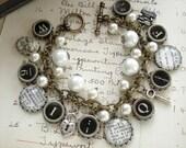 Storybook Romance - Typewriter Key Bracelet. Literary Bracelet. Dictionary Jewelry. Assemblage Charm Bracelet. Eco Friendly Bookish Gift.