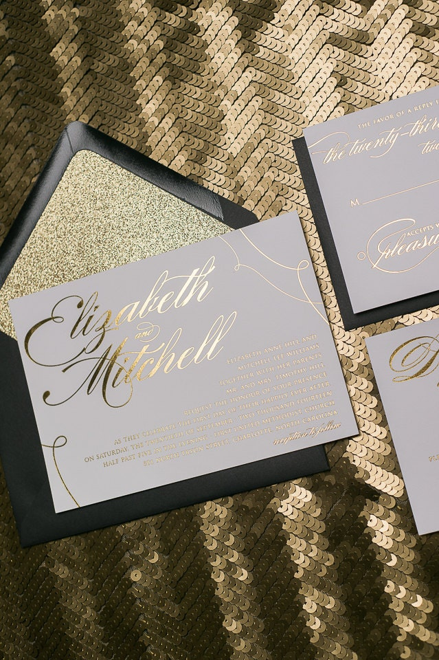 Foil Black And Gold Glitter Calligraphy Wedding Invitations