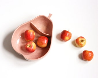 Vintage 1950s Peachy Pink Ceramic Divided Pear Bowl by Pfaltzgraff