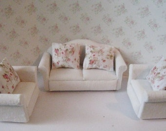 Dollhouse lounge,four piece lounge, white living room, miniature living room, white sofa, white chair, 1/2th scale, tatty chic, ,  miniature