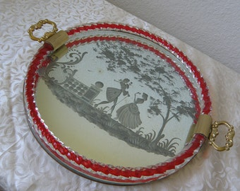 Italian Glass Etched Mirror Perfume Tray with Handles
