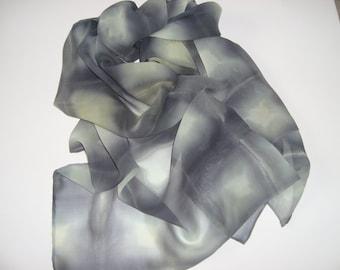 Hand dyed Silk Chiffon Scarf.