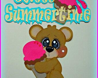 Summer Bear Scrapbook Page Card Handmade Premade Embellishments Die Cut