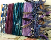 Creative Art Yarn Bundle Specialty Fiber Yarn Bundle - 10+ yards - Teals to Purple
