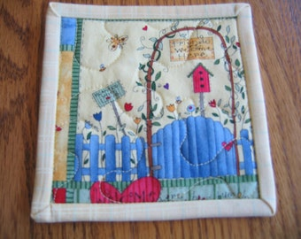 Quilted Coasters in a Birdhouse and Flower Pattern - Set of 6