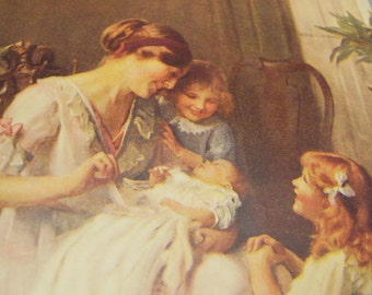 Vintage Blank Card Antique Replica Mother Children Joy of Perfect Love