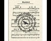 Blackbird Spiral Song Lyric Sheet Music Art Print, The Beatles Music Art Print, Spiral Words, Music Wall Art