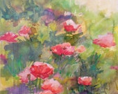 Original Contemporary Acrylic Poppies Landscape by Marty Husted