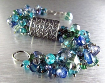End Of Summer Sale Anne Choi Wave Bead With Kyanite, Quartz and Apatite Cluster Sterling Silver Wire Wrapped Bracelet