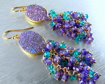 End Of Summer Sale Druzy With Purle Zircon And Peacock Teal Quartz Gold Filled Earrings