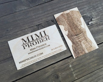 100 Wood Business Cards Laser Cut and Laser Etched with