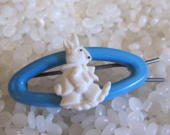 Vintage barrette, white bunny rabbit