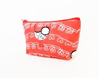 Valentine's Day Gift, Fabric Pouch, Medium Cotton Pouch, Gift for Her, Bird Pouch,  Cosmetic Bag, Toiletry Bag, Bird on a Heart Wire on Red