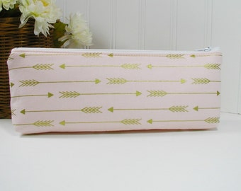 Long Zipper Pouch, Long Zipper Pouch, Long Pencil Case, Pencil Pouch.. Arrows in Metallic Gold and Blush