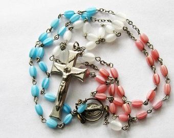 Vintage Pink White and Blue Glass Rosary