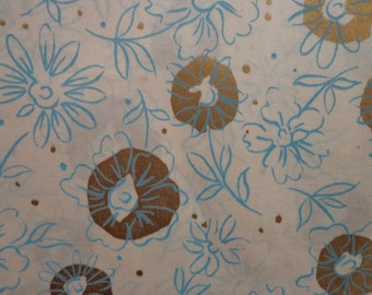 Vintage 1950s Gift Wrap All Occasion Blue & Gold Floral Abstract--2 Sheets Vintage Wrapping Paper