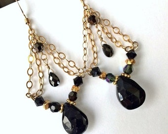 50% OFF SALE Black Tourmaline Chandelier Earring Gold Fill Chain Wire Wrap Petite Chandelier Black Spinel Gem Stone Black Crystal Boho Chic