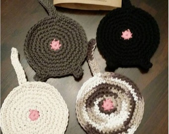 Cat butt coasters crochet - set of 4