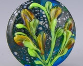 a transparent blue large lentil focal with delicate raised flowers handmade lampwork glass bead - Windblown Wildflowers