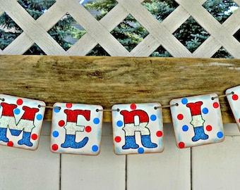 4th of July Banner-America Banner-Double Sided July 4th Banner-Rustic July 4th Sign-July 4th Party Sign-Patriotic Banner