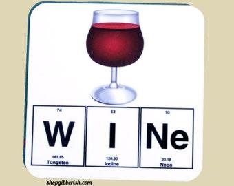 Wine Science Coaster - Emoji - Wine Glass Chemistry - Periodic table of Elements - Bar Cart - drinkware - Gift Idea