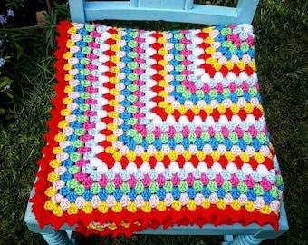 Crochet Granny Square blanket. Baby blanket. Lap blanket