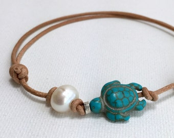 Freshwater Pearl Leather Anklet. Natural Leather Bracelet. Adjustable, Turtle, Surfer Jewelry